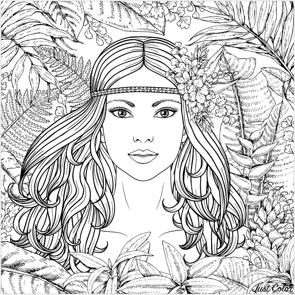 Potrait Femme De La Foret Jungle Et Foret Coloriages Difficiles