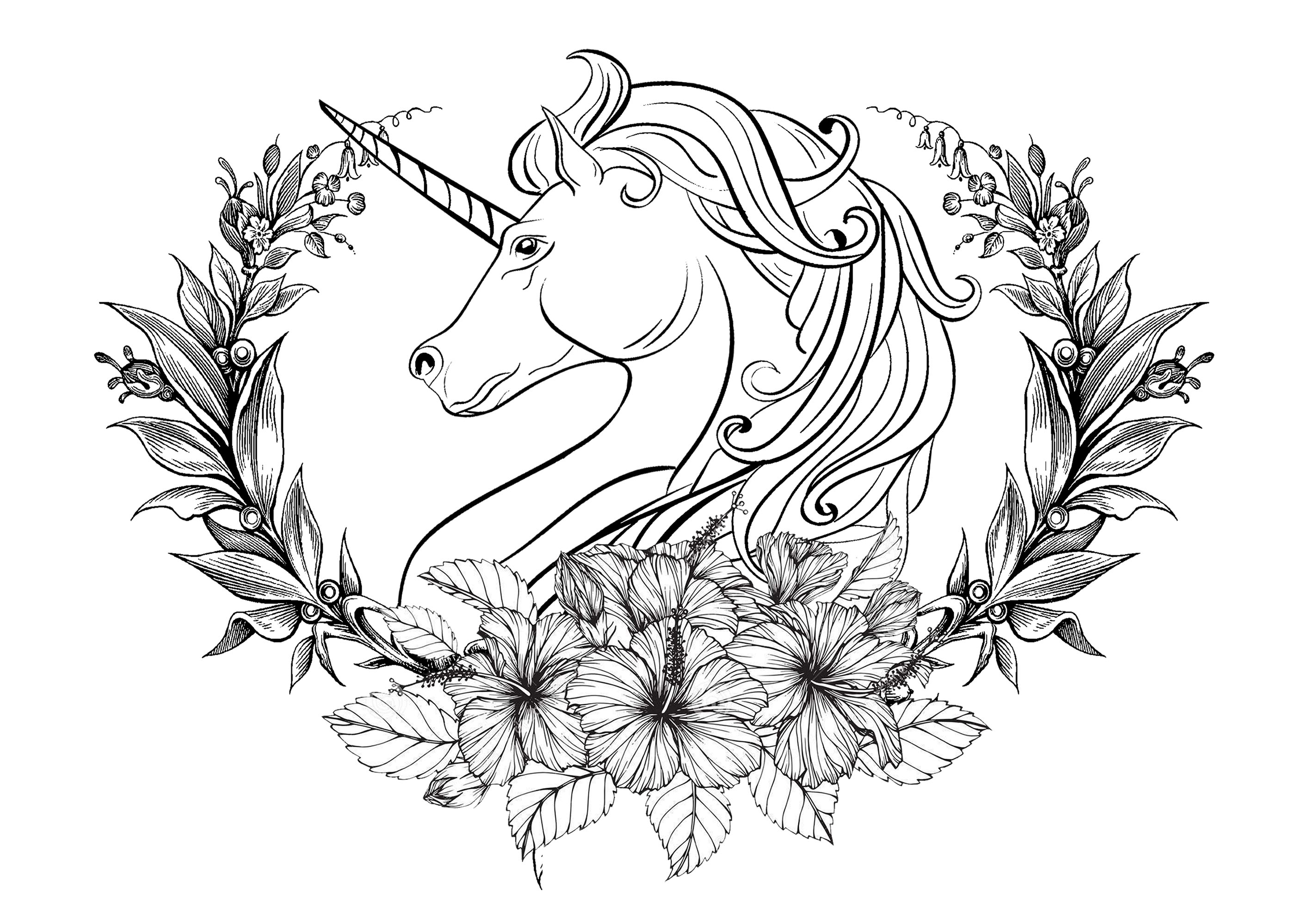 Magnifique tête de licorne entourée d'une couronne de laurier, avec des fleurs de diverses tailles sur le devant