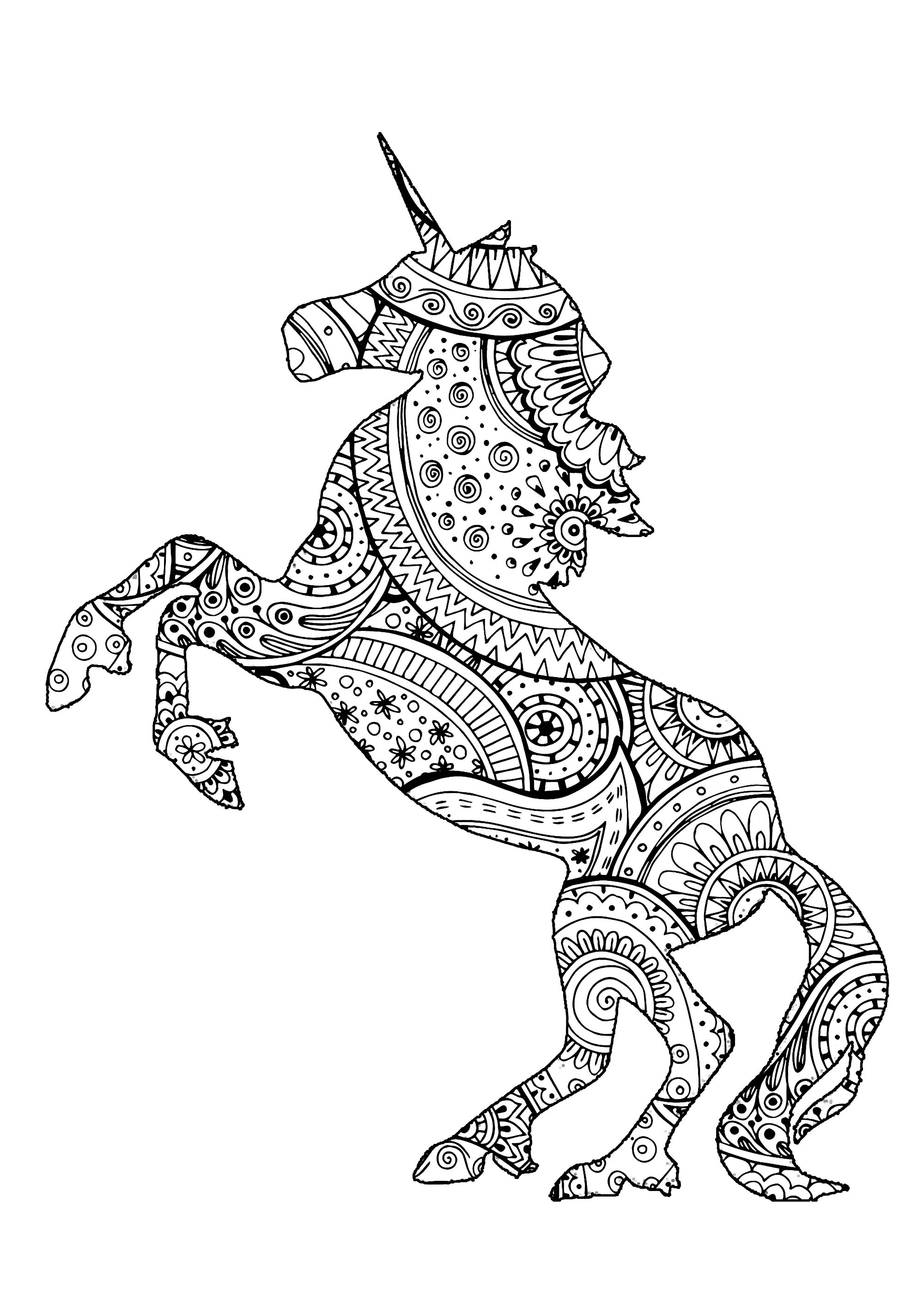 Superbe licorne avec motifs Zentangle et Paisley à colorier