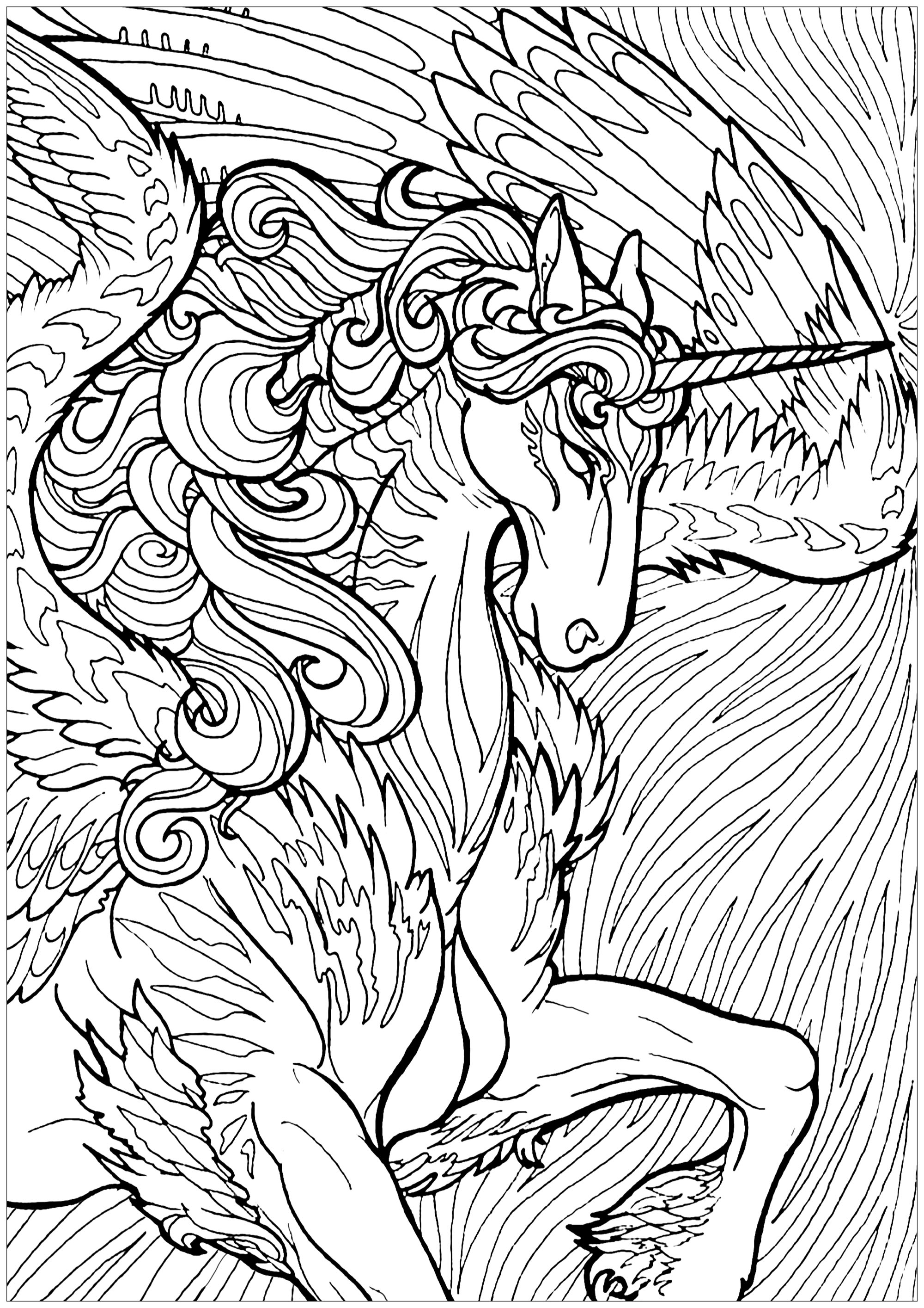 Majestueuse licorne et arrière-plan complexe