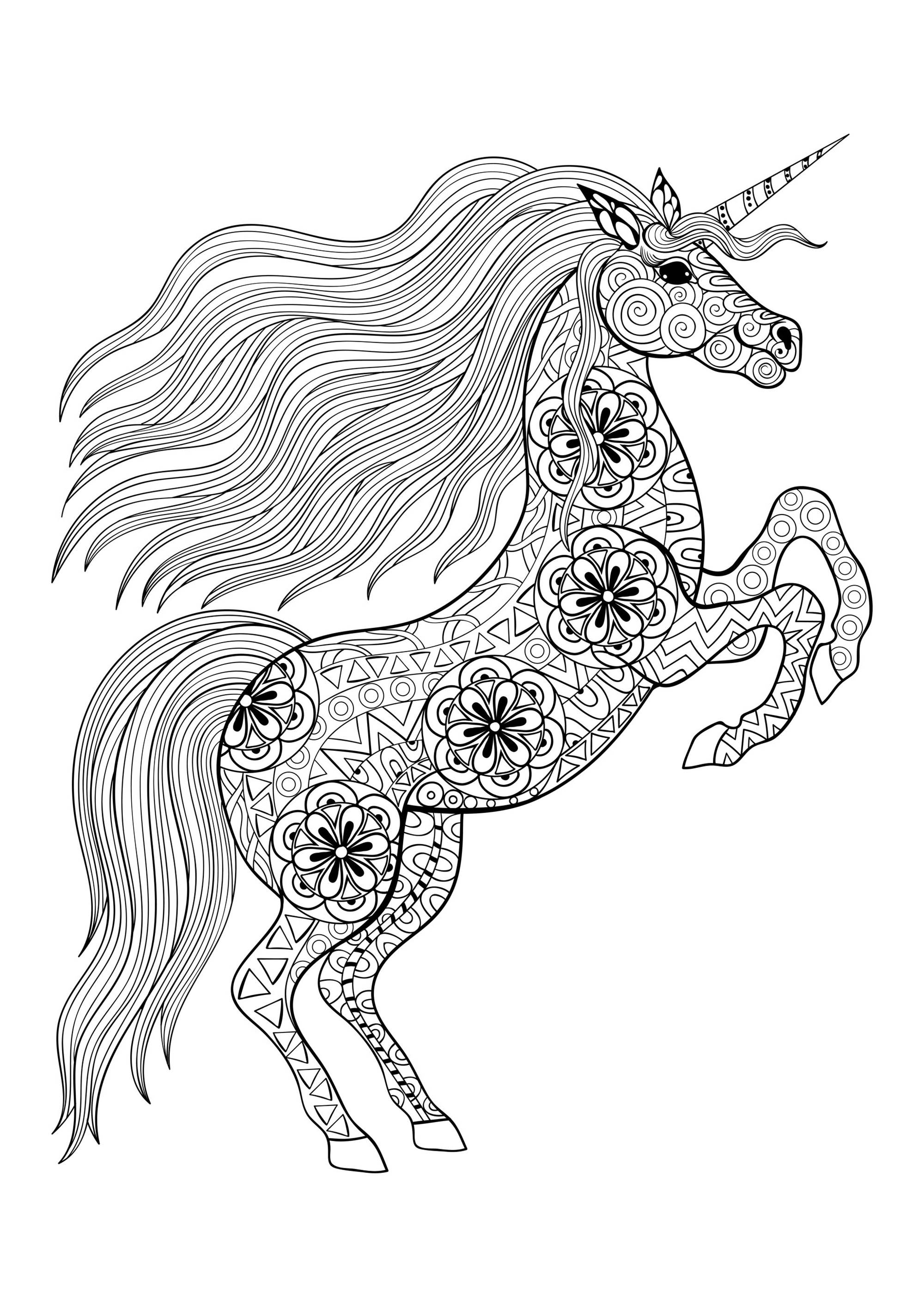 Licorne on its two back legs licornes coloriages difficiles pour adultes - Licorne dessin a imprimer ...