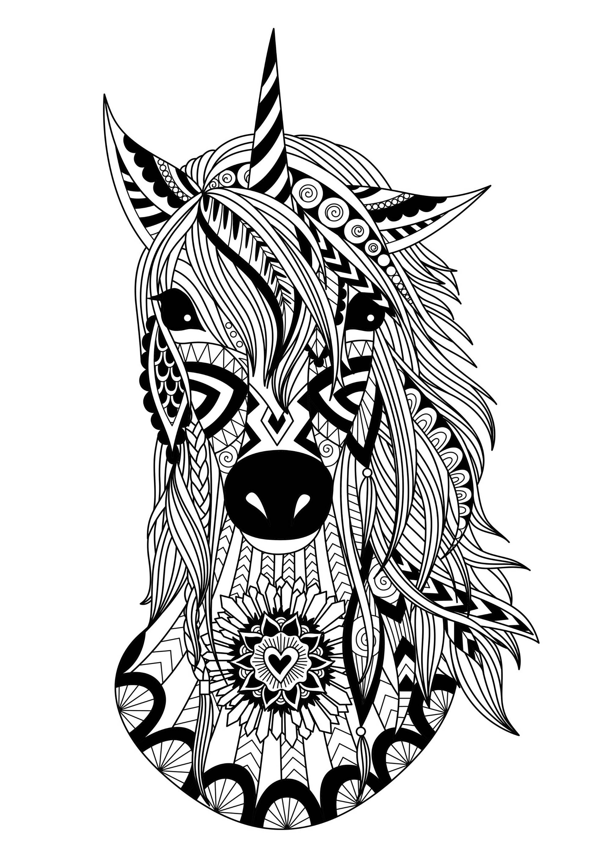 Licorne zentangle simple licornes coloriages - Dessin de licorne facile ...