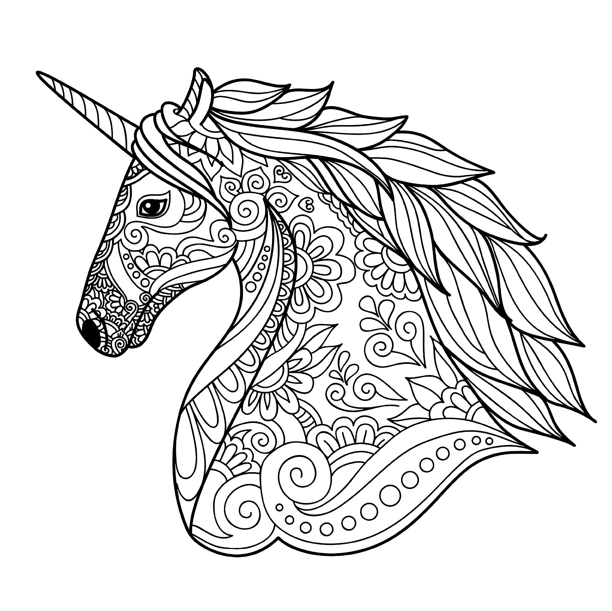 Tete de licorne simple licornes coloriages difficiles pour adultes - Dessin de licorne a colorier ...