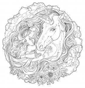Coloriage licorne et fille dans les nuages