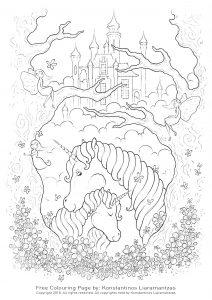 Licornes et château