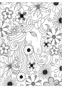 Merveilleuse licorne entourée de fleurs