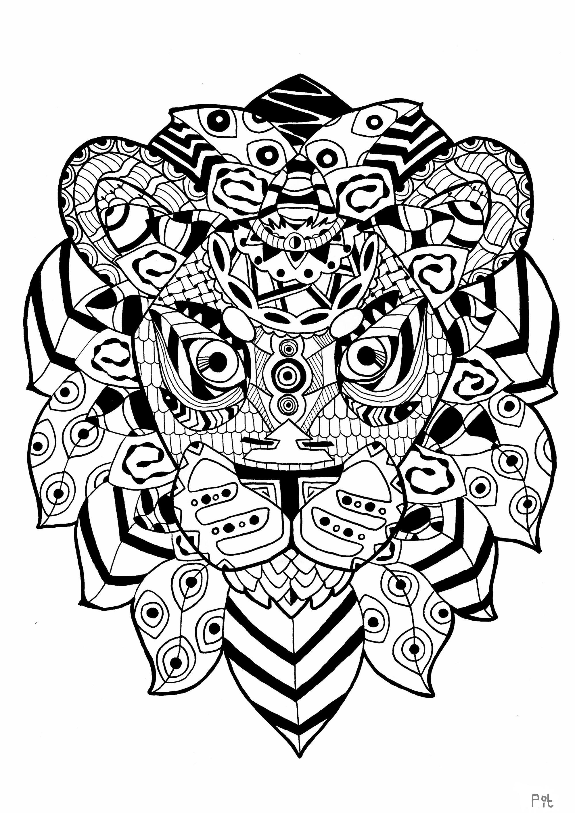 Une impressionnante tête de lion dans un style Zentangle