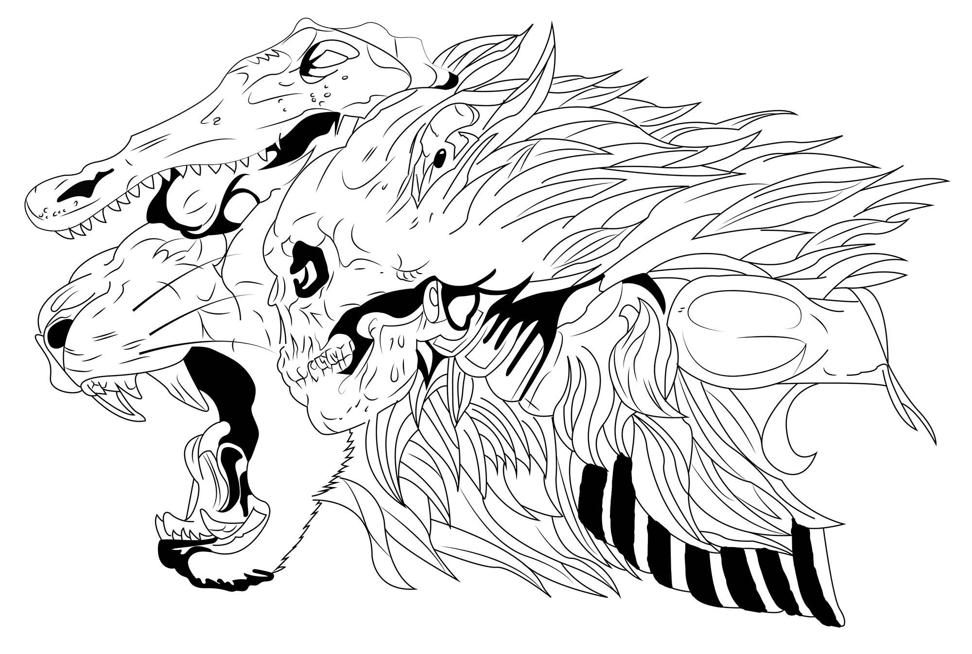Lion, crocodile et crane