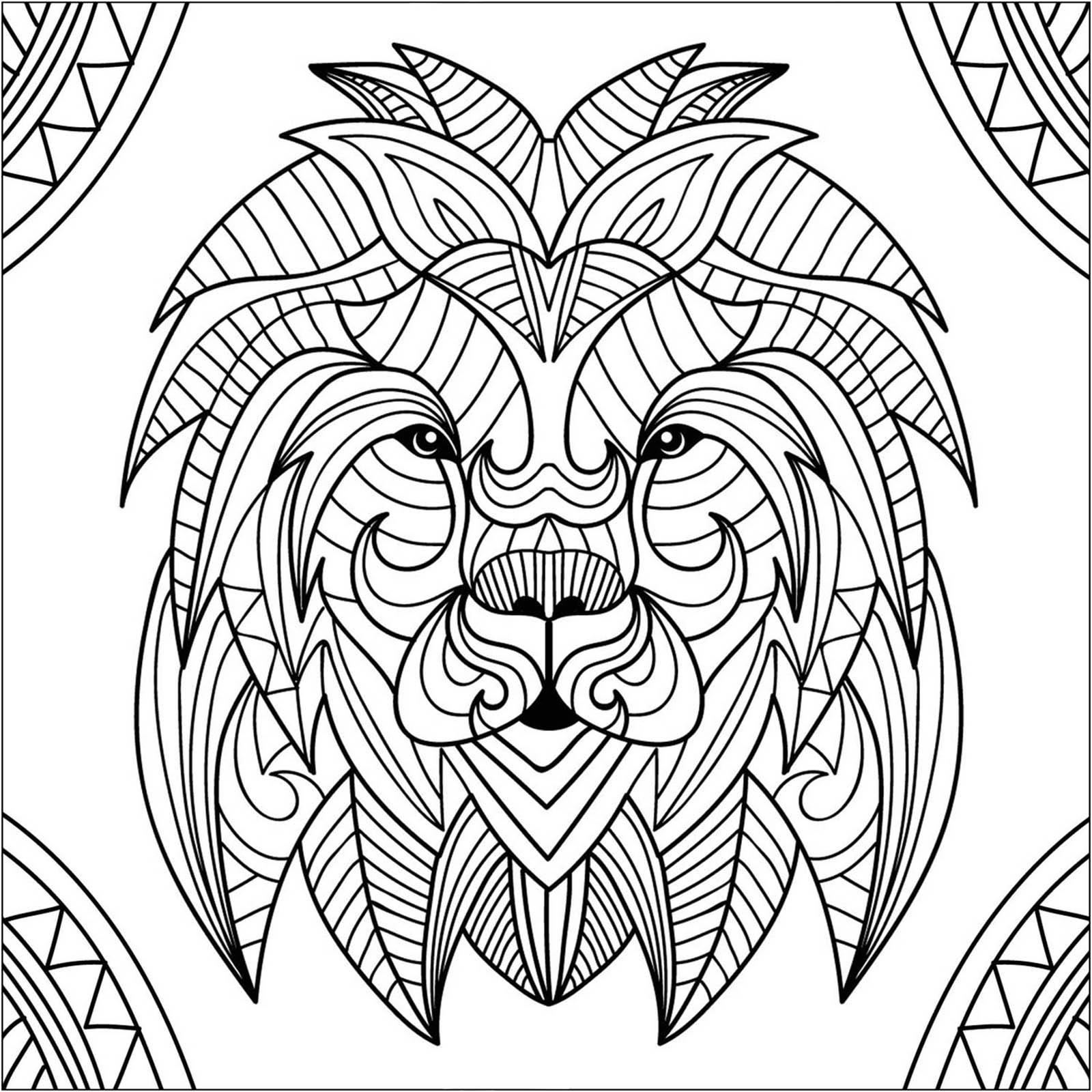 Tete De Lion Et Motifs Lions Coloriages Difficiles Pour Adultes