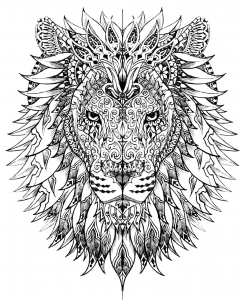 Coloriage adulte difficile tete lion