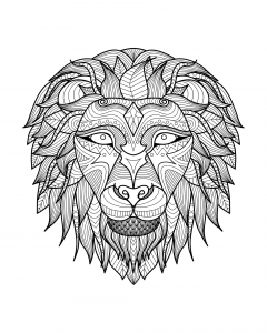 Coloriage adulte tete lion 2