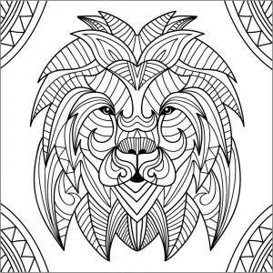 Tête de lion et motifs