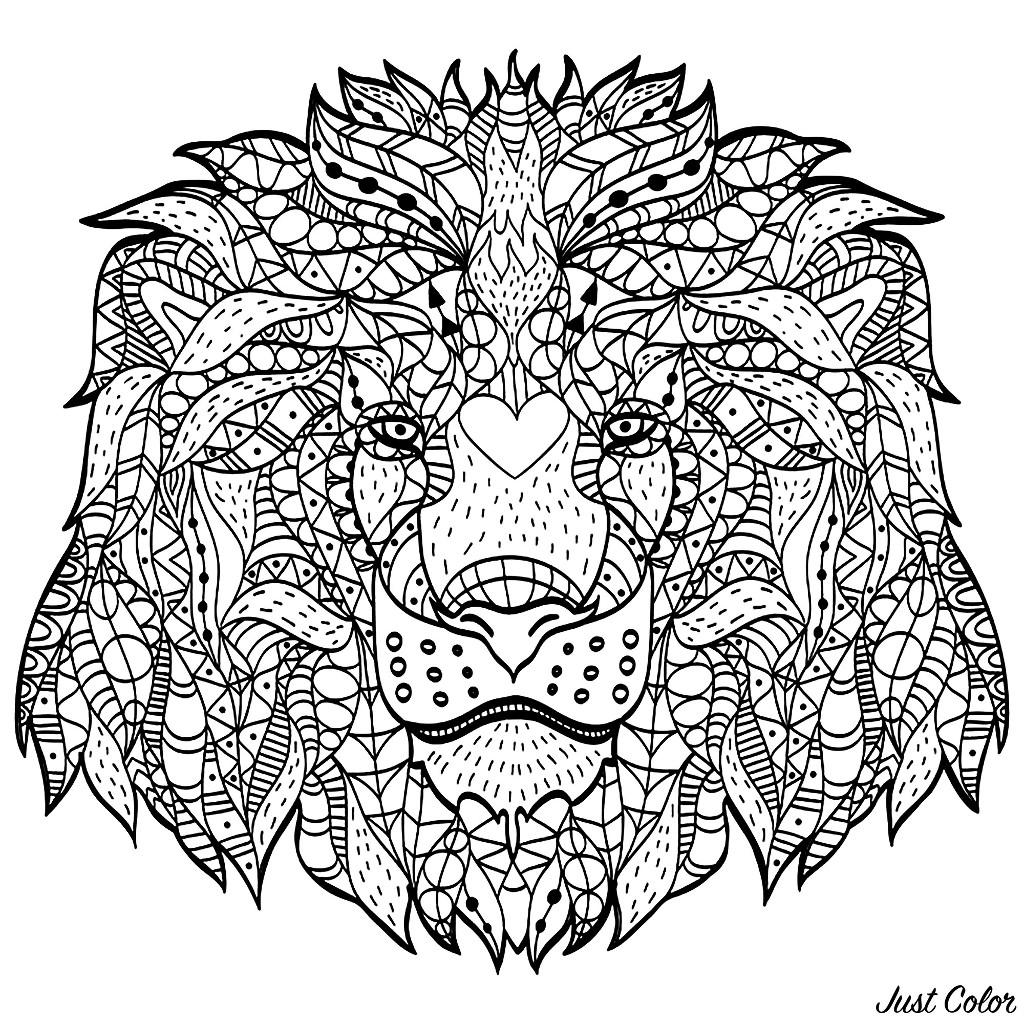 Cette majestueuse tête de lion faite avec des motifs Zentangle va vous demander une concentration totale ! Profitez en !