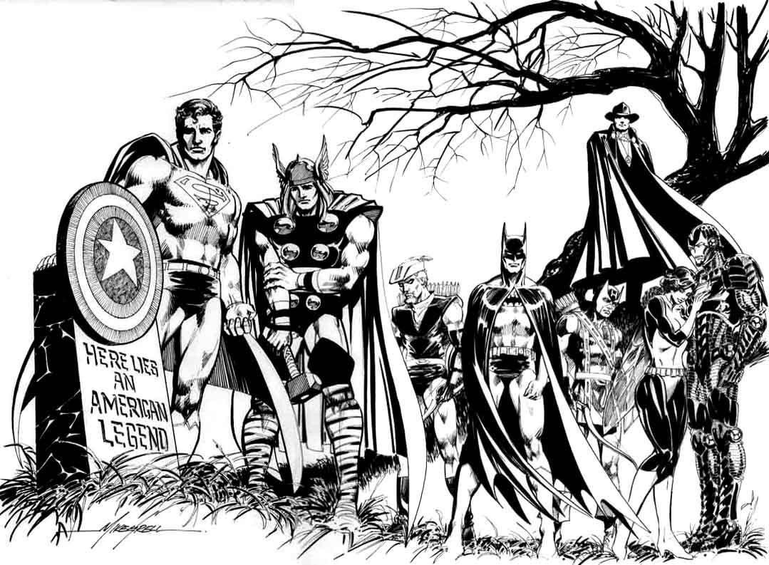 Coloriage des Avengers se recueillant devant la tombe d'un des leurs, tombé au combat