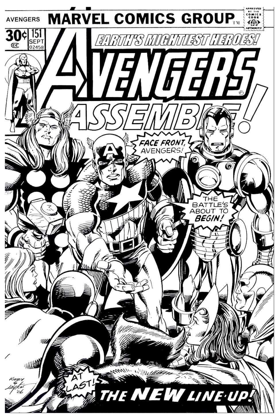 Une couverture d'un Comics de Marvel en noir et blanc, avec les Avengers au grand complet. En très bonne qualité, à imprimer !
