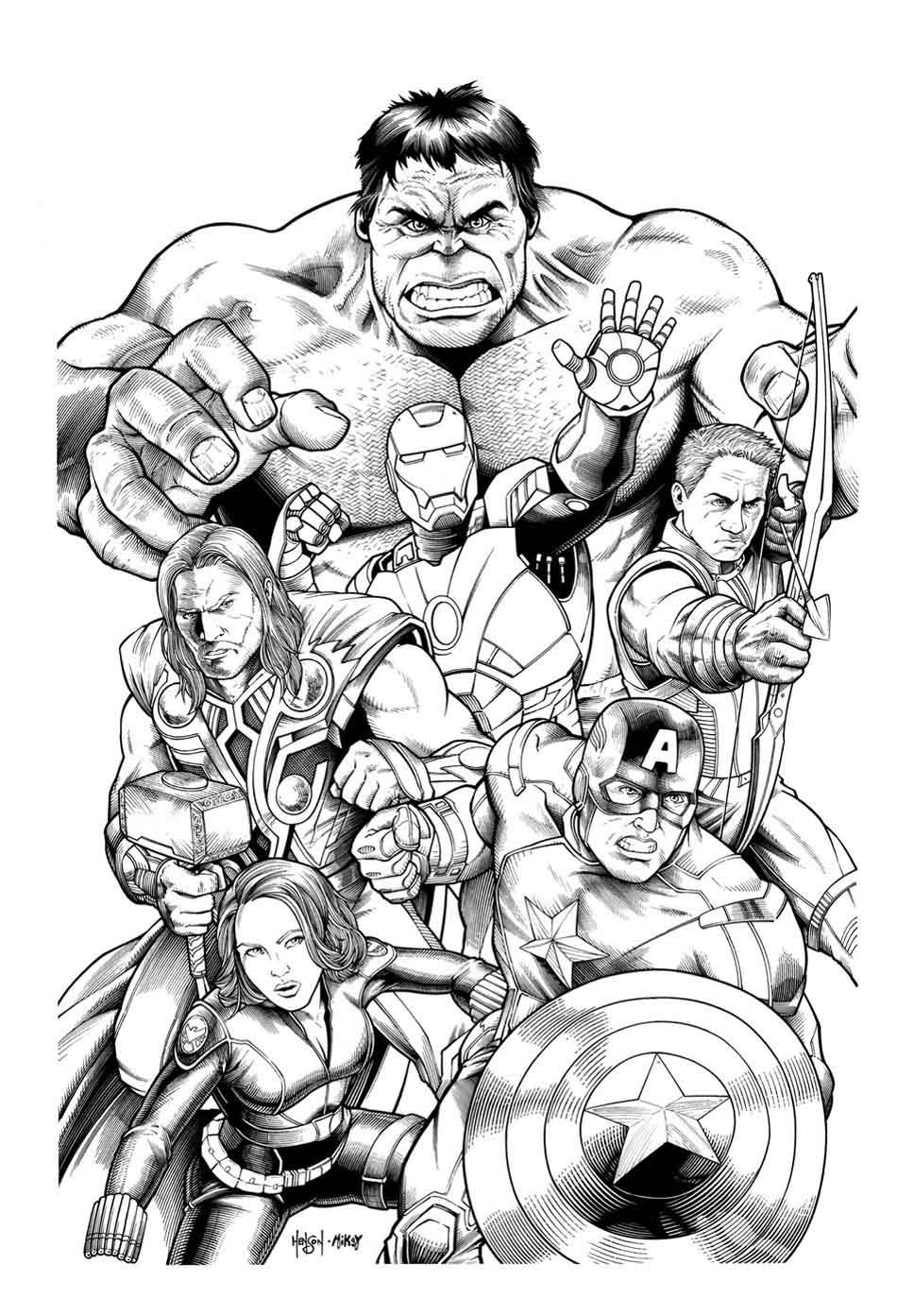 coloriage avengers difficile imprimer et colorier hulk avec iron man thor captain - Avengers Coloriage