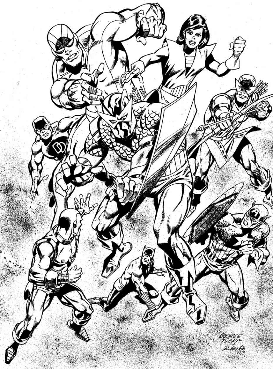 Dessin original avec les Avengers au grand complet en pleine action, à colorier sans modération