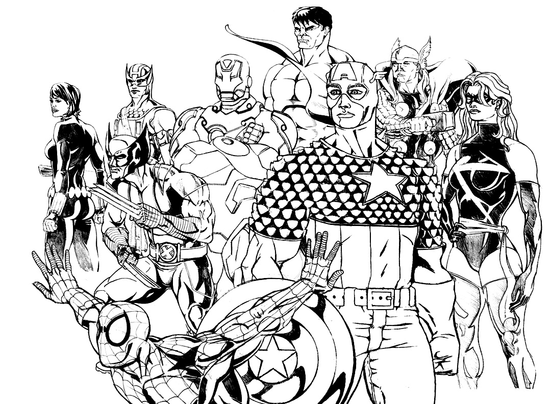 Coloriages des personnages des Avengers, en attente avant une nouvelle bataille ? A Imprimer et colorier