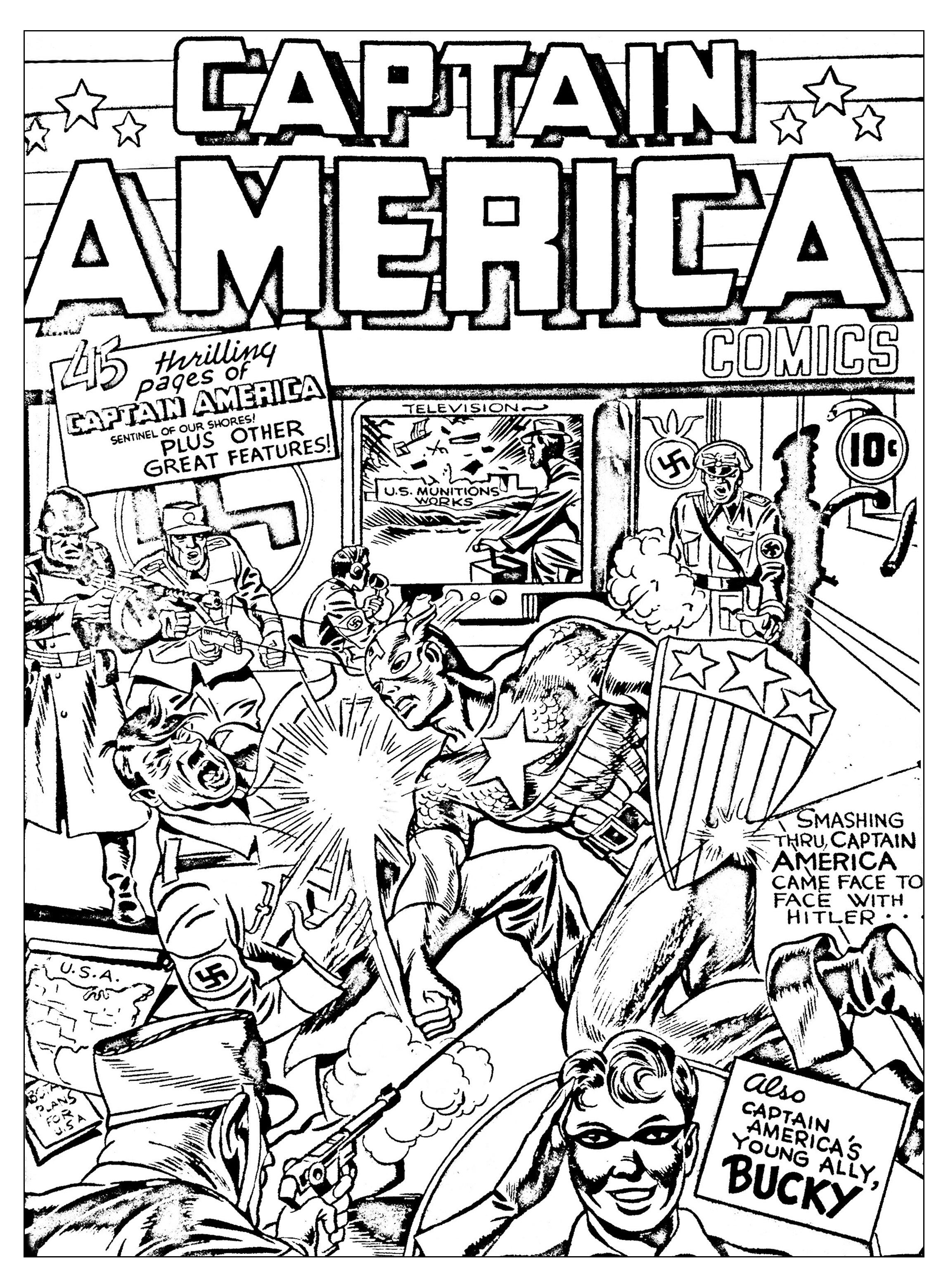 Coloriage créé à partir d'une couverture originale de Captain America (Source : Jack Kirby, King of comics)