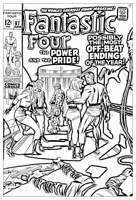 Coloriage réalisé à partir d'une couverture des Quatre Fantastique de 1969 (Source : Jack Kirby, King of comics)