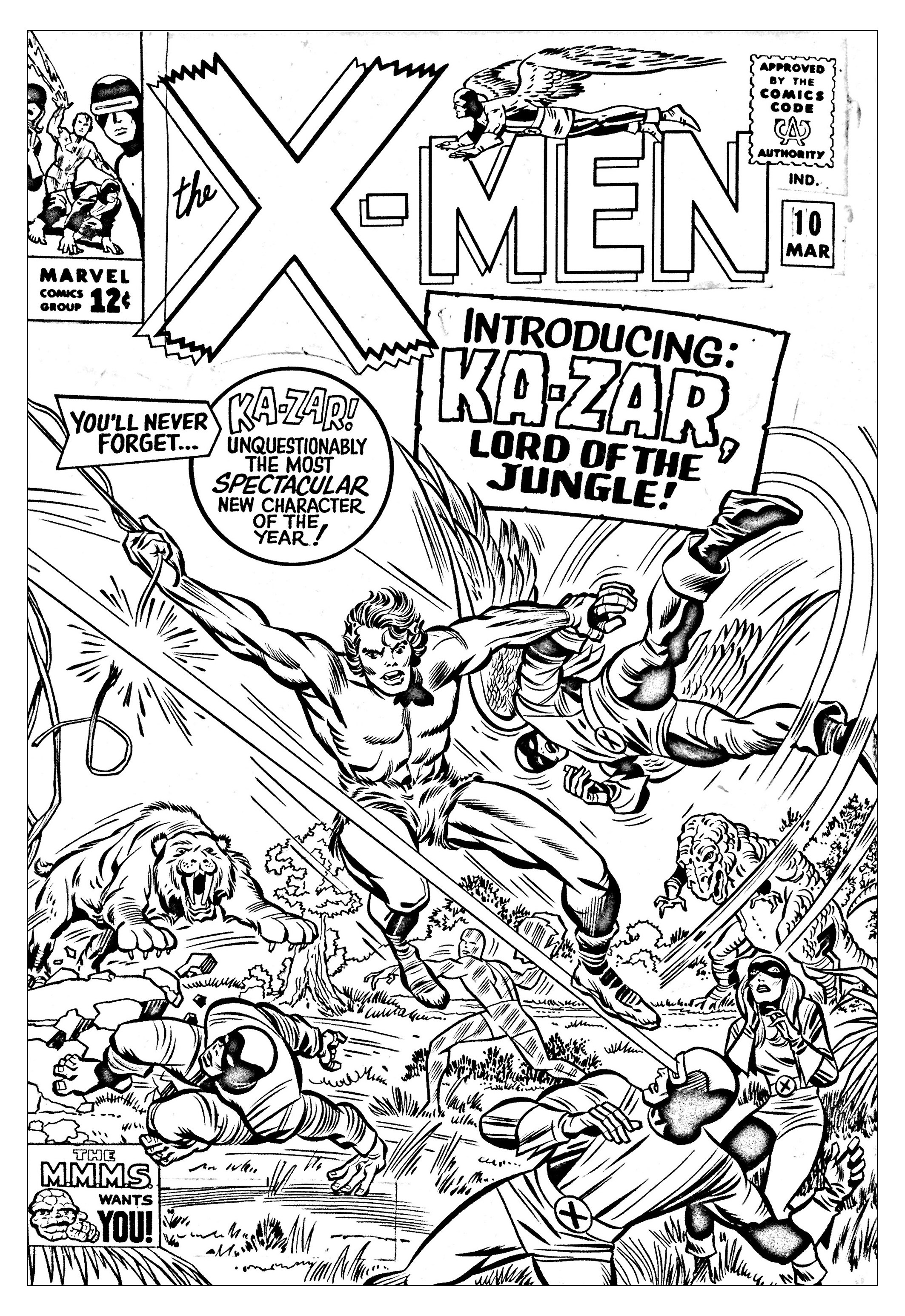 Coloriage créé à partir d'une couverture inédite de 1965 du Comic Book X-Men (Source : Jack Kirby, King of comics)