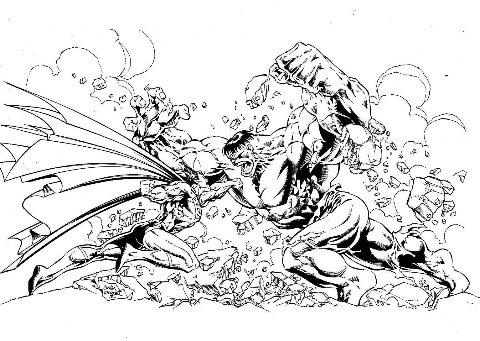 Coloriage adulte de Superman en plein combat avec le gigantissime et verdâtre HULK ! Qui va gagner ? A vous de le décider en coloriant cette image gratuite