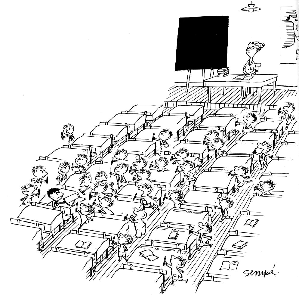 Illustration tirée du Petit Nicolas, avec la classe au grand complet, vue de dessus. Donc beaucoup d'élèves et de tables, à mettre en couleur sans se presser, même si Goscinny préférait le noir & blanc pour son petit héros