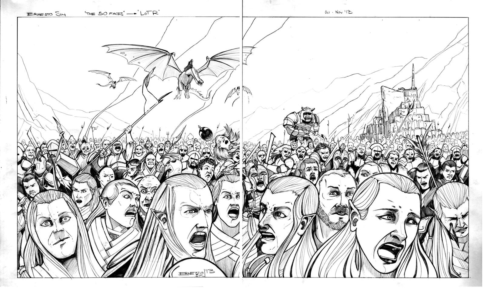 Dessin magistral tiré du Seigneur des anneaux avec Legolas et ses parses Elfes pris