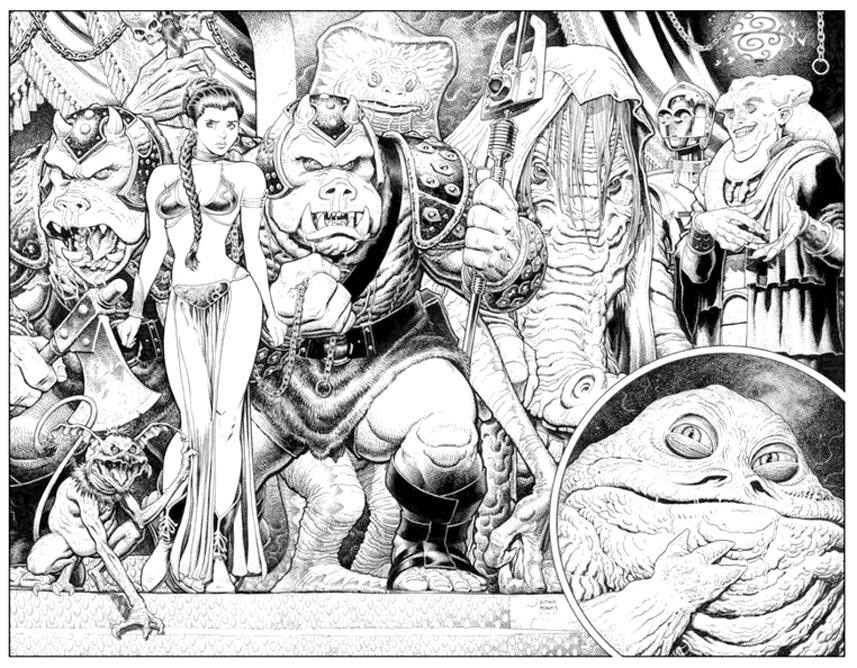 Coloriage adulte Star Wars, tirée du Retour du Jedi, avec l'horrible Jabba the hut et son éphémère prisonnière la Princesse Leia