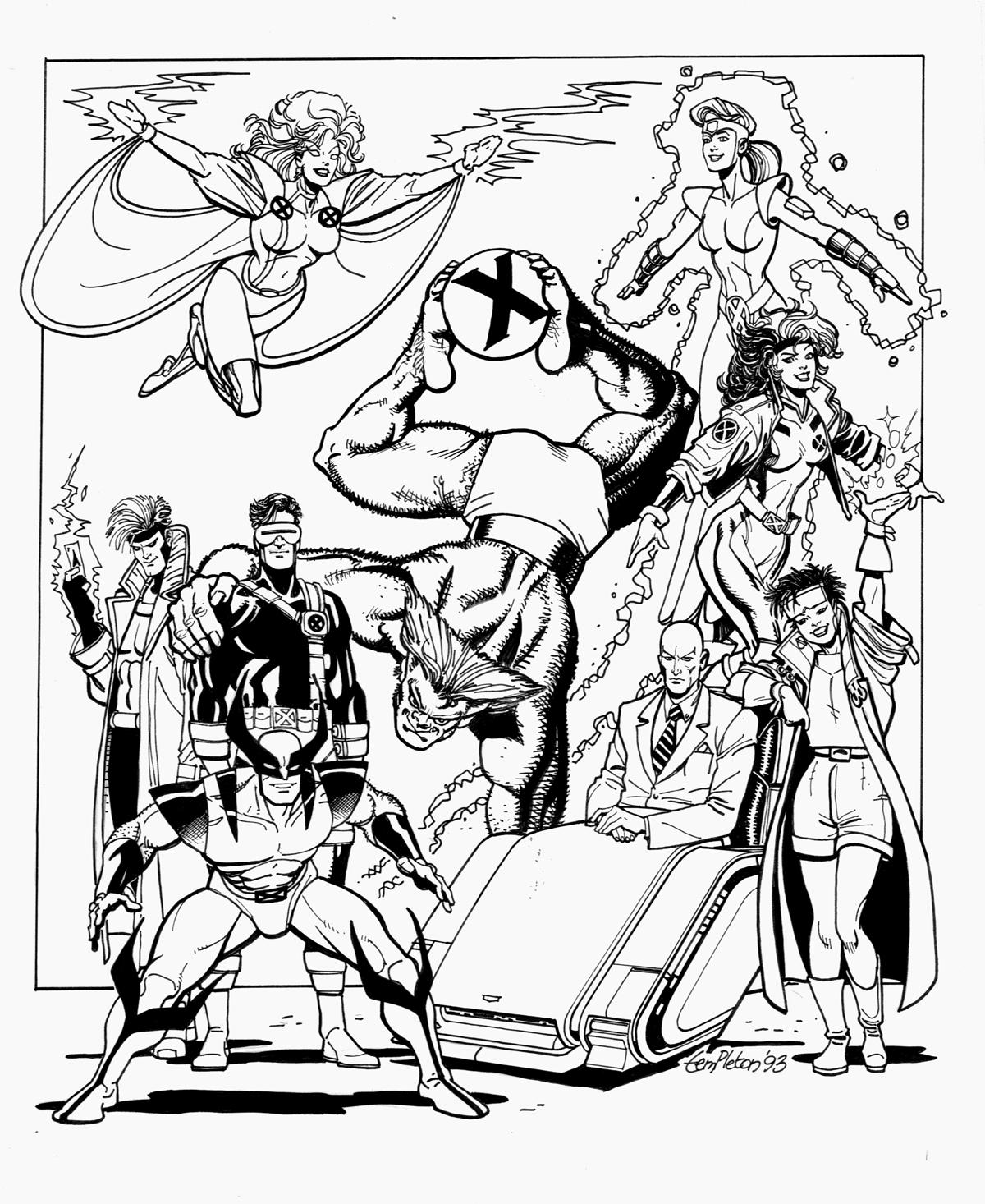 Les personnages des X Men dans un coloriage adulte : Wolverine, Magnéto, Professeur Xavier, Malicia, Mystique, Cyclope, Tornade, Dents-de-sabre...