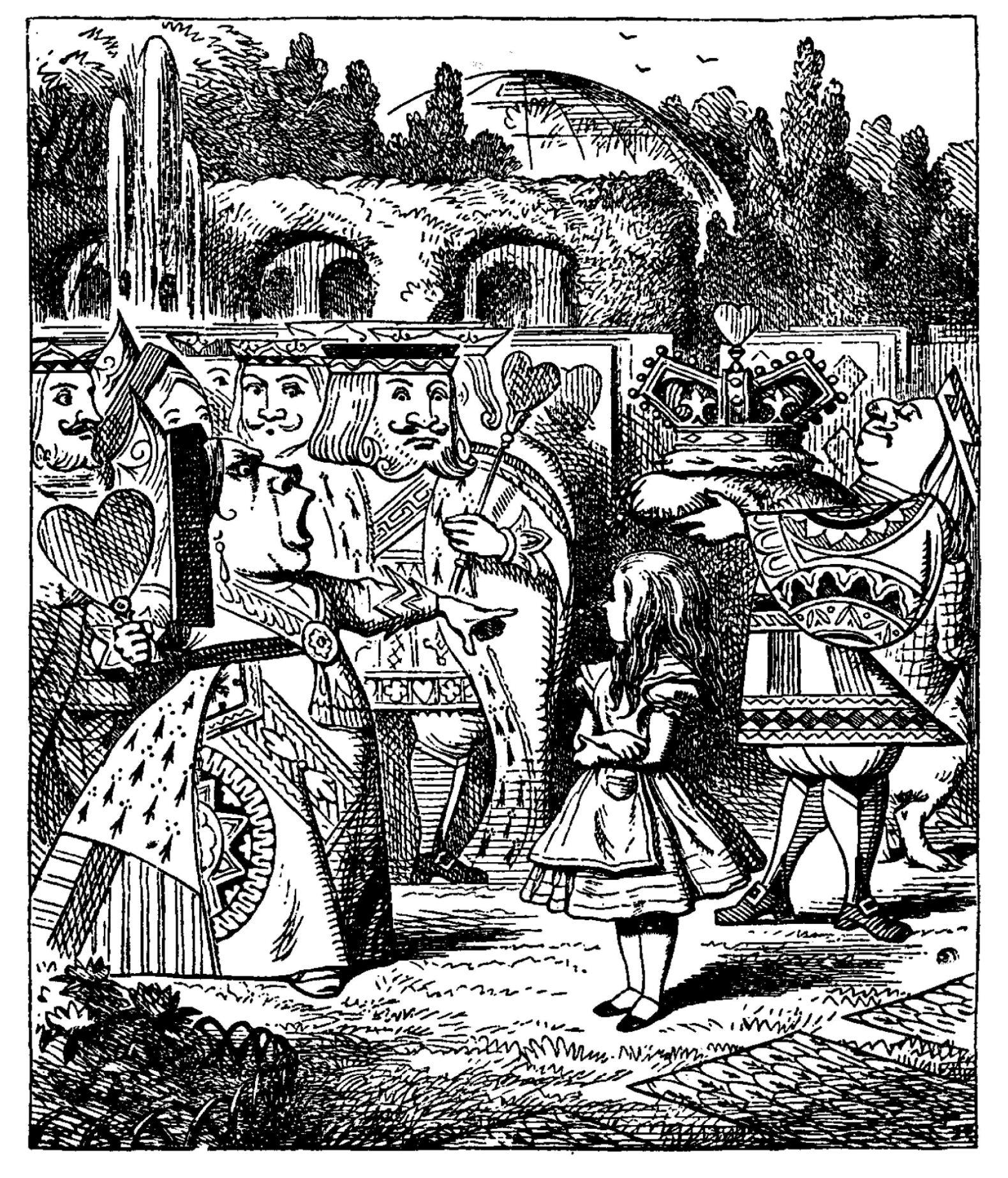 La cour de cœur illustration de John Tenniel pour Alice au pays des merveilles