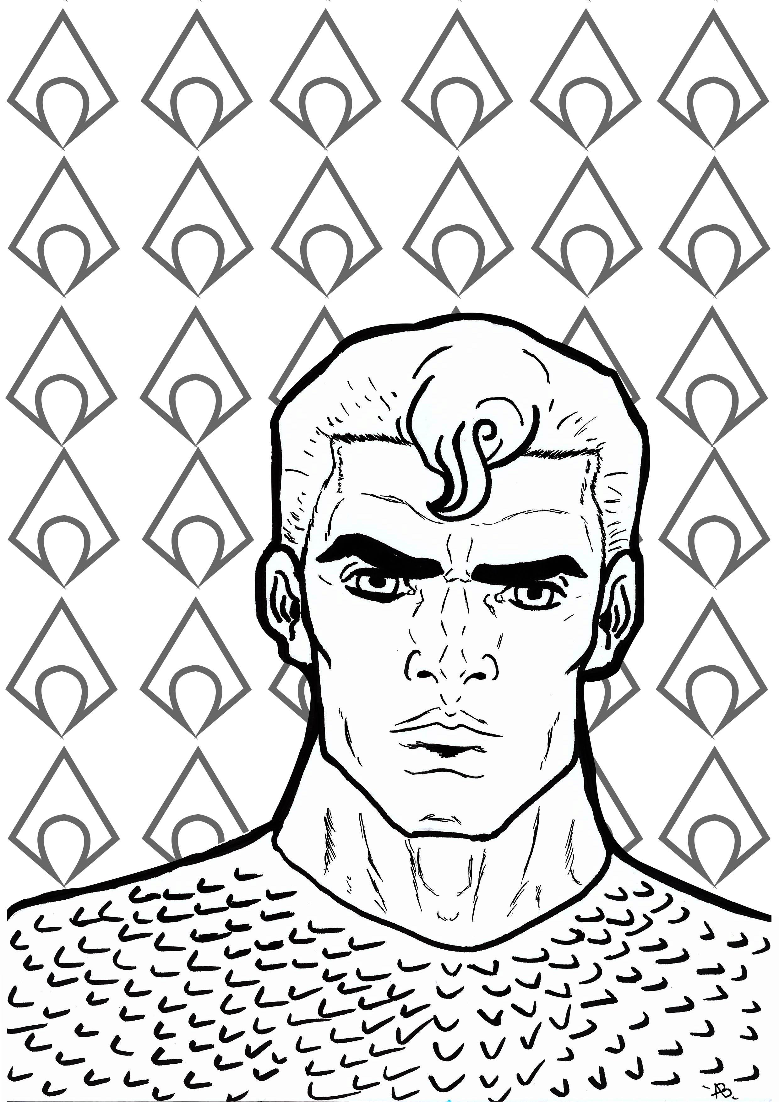 Coloriage inspiré du super-héro Aquaman