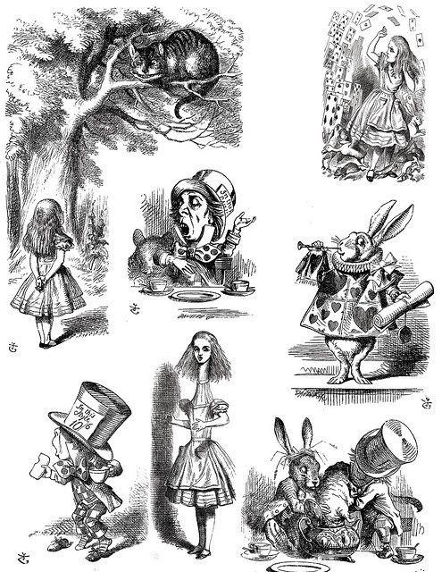 Ancienne illustration issue d'une édition d'Alice au pays des merveilles