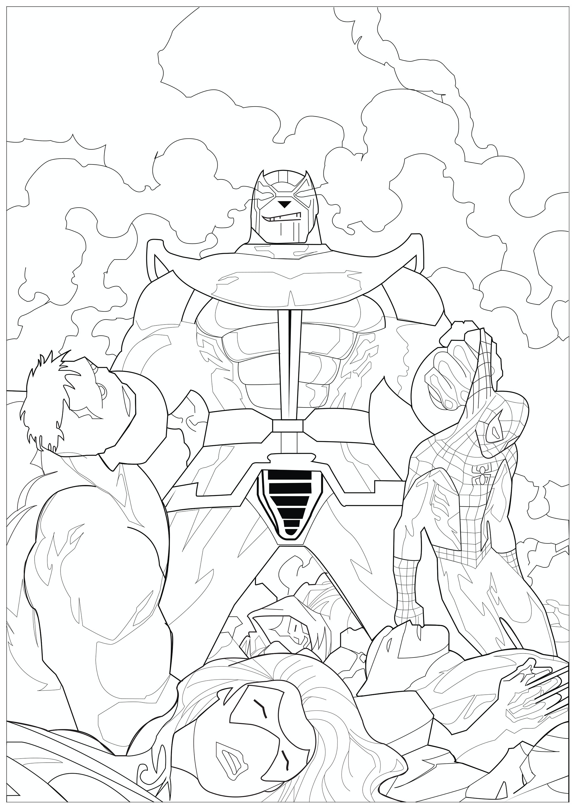 Thanos le super méchant Marvel, et les cadavres des Avengers qu'il a tués : Hulk, Spiderman, Iron Man et Black widow
