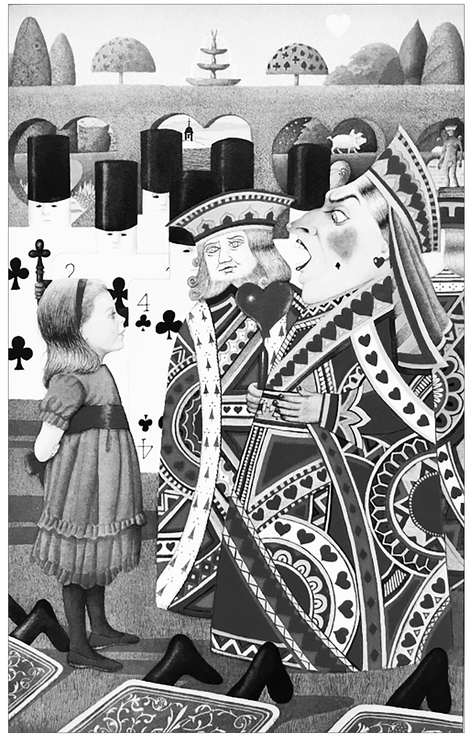 Coloriage créé à partir d'une ancienne illustration tirée du livre 'Alice au pays des merveilles' de Lewis Carroll