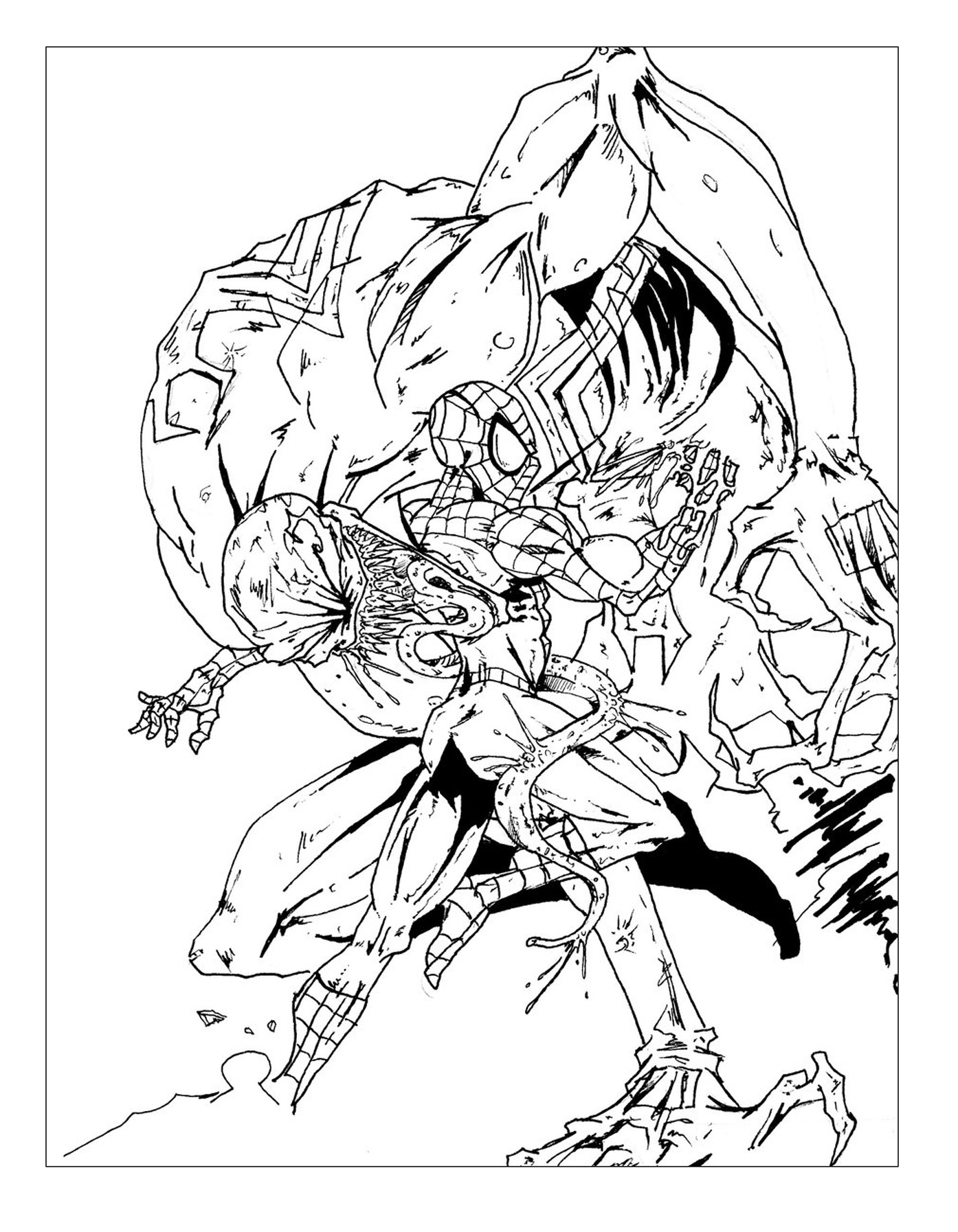 coloriage spiderman contre ennemi