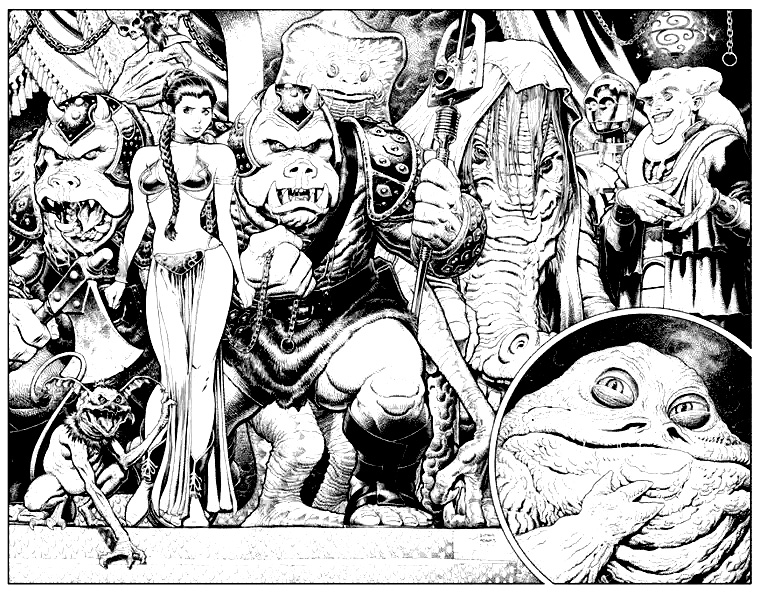 Dessin noir & blanc très détaillé issu d'un comic book Star Wars