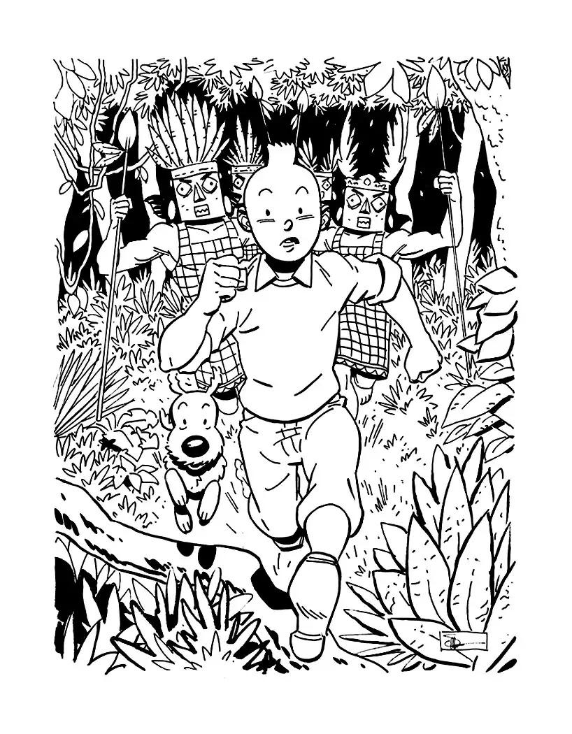 Un dessin inspiré des aventures de Tintin, à colorier