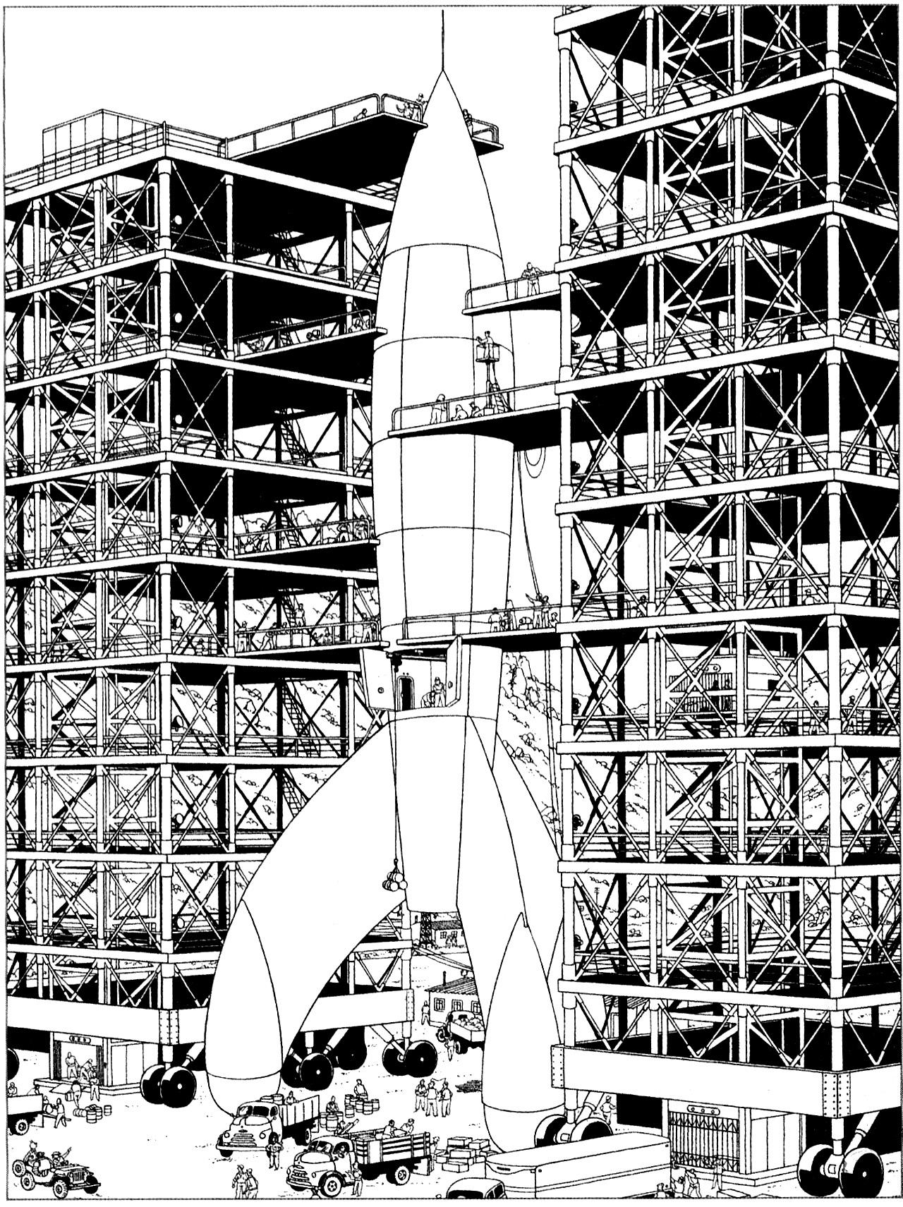 La fusée de Tintin Objectif Lune d'Hergé (1953)A partir de la galerie : Livres Et Comics