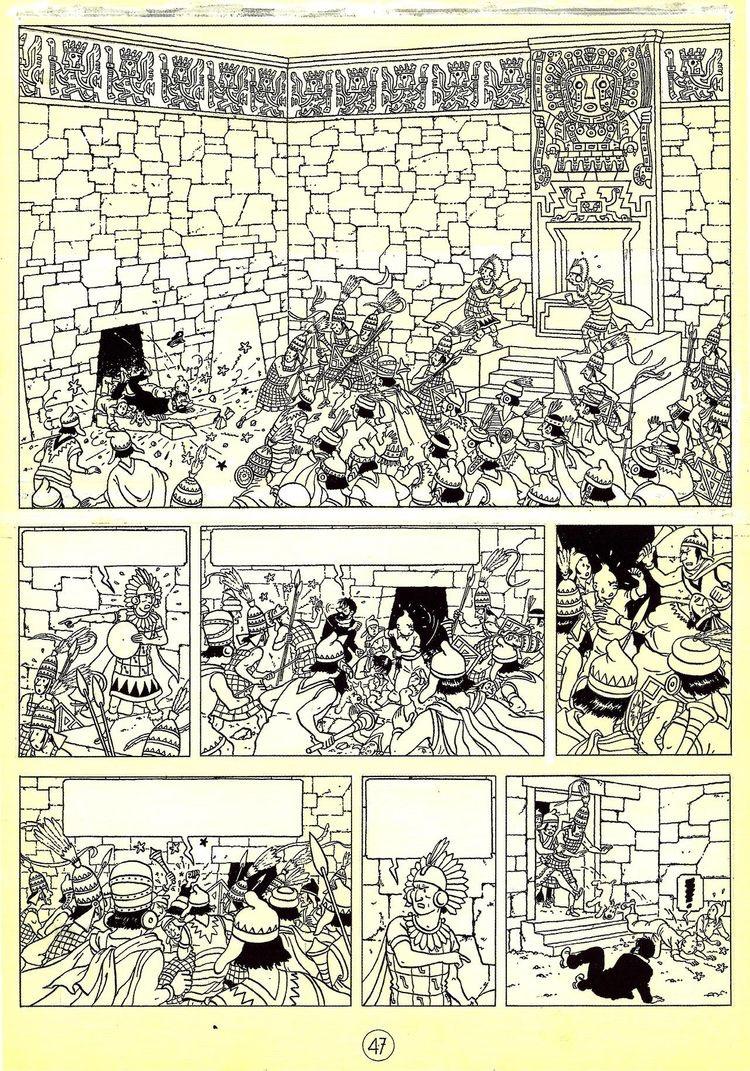 Planche noir & blanc dessinée par Hergé pour l'album Tintin et le temple du soleil (1949) | A partir de la galerie : Livres Et Comics