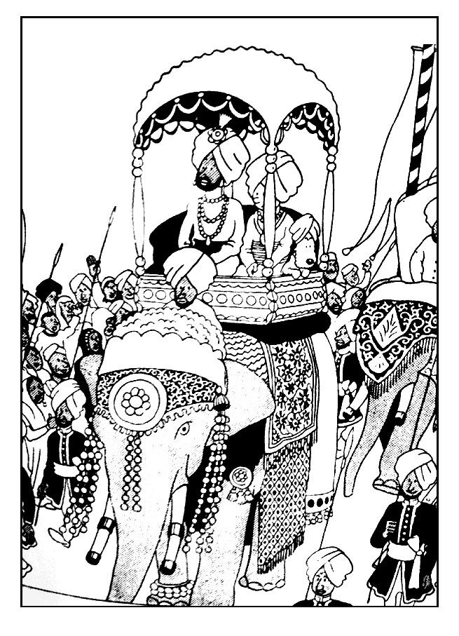 Tintin à dos d'éléphant à colorier