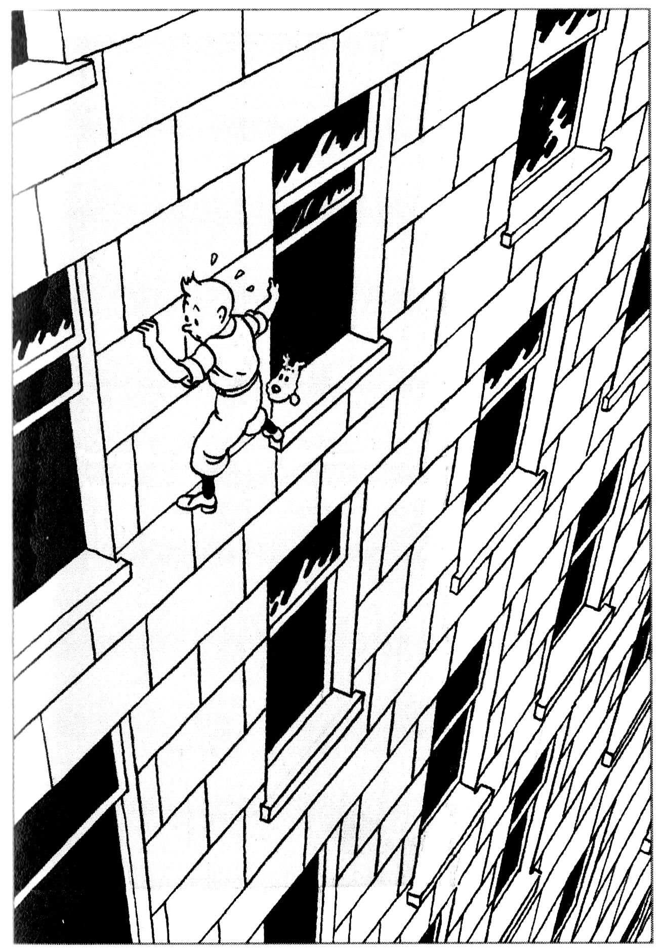 Tintin en Amérique ... et dans une mauvaise situation (dessin d'Hergé de 1932)