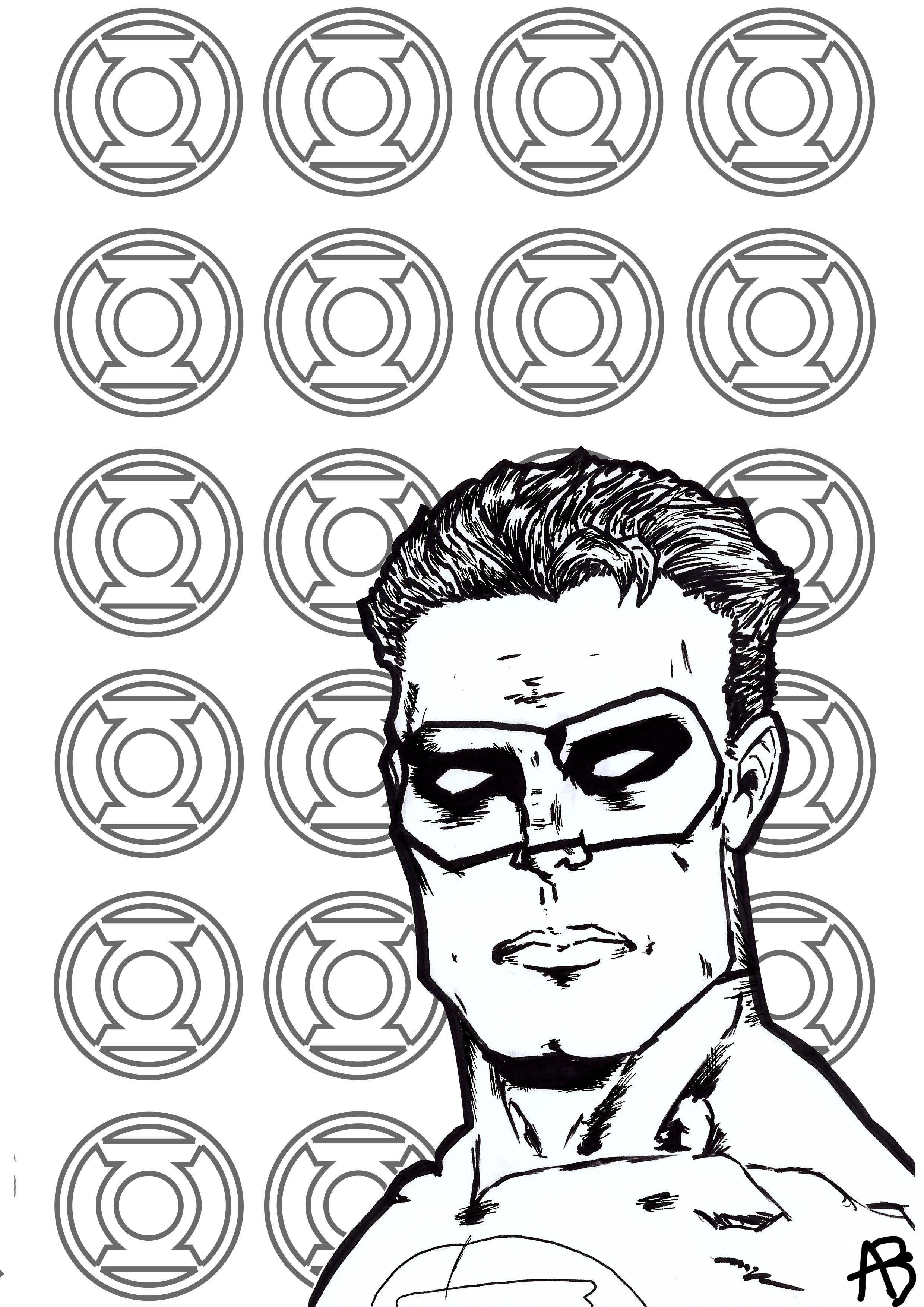 Coloriage inspiré du super-héro Green Lantern