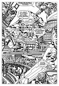 Coloriage adulte comics quatre fantastiques surfeur argent annees 60