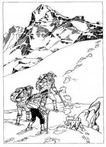 Coloriage dessin inspire de tintin au tibet par derib