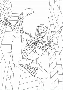 Coloriage fan art Spider man à New York