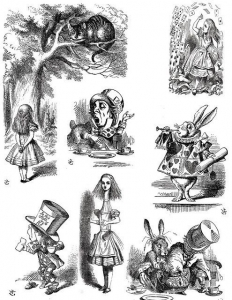 Coloriage illustration ancienne edition alice pays merveilles