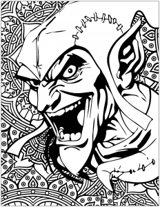 Coloriage mechants marvel Green Goblin Bouffon vert
