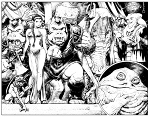 Coloriage star wars comics retour du jedi leia jabba the hut