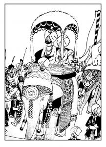 Coloriage tintin sur un elephant